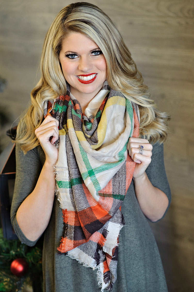 * Blanket Scarf : Orange, brown, green, & tan