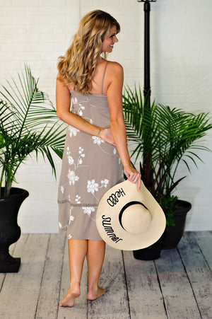 * Sylvia Embroidered Front Tie Midi Dress : Taupe