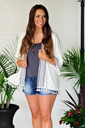 * Brave And Boho Embroidered Tassle Kimono : Off White