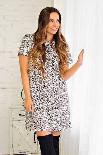 * Tell Me Why Comfy Leopard Tee Dress: Black/White
