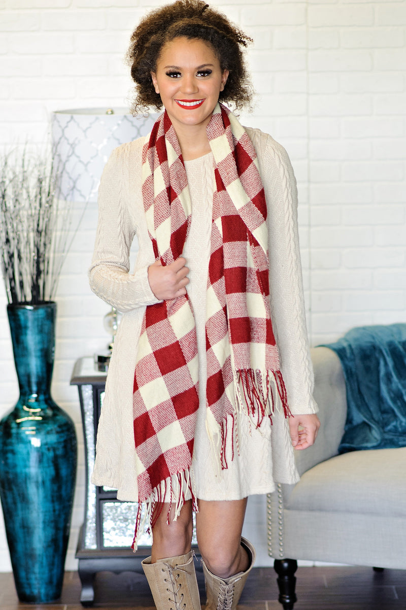 * Buffalo Plaid Long Fringe Scarf : Red & Ivory