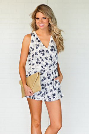 * Story Of Palm Trees Romper : Ivory/Navy