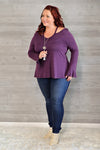 * Curvy Camille Cutout Detail Top : Plum