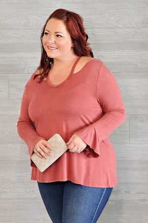 *  Curvy Camille Cutout Detail Top : Brick