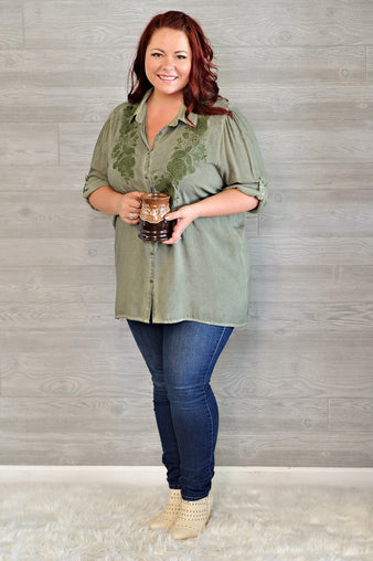 *  Curvy Charlot Button Down Top With Embroidered Detail : Olive