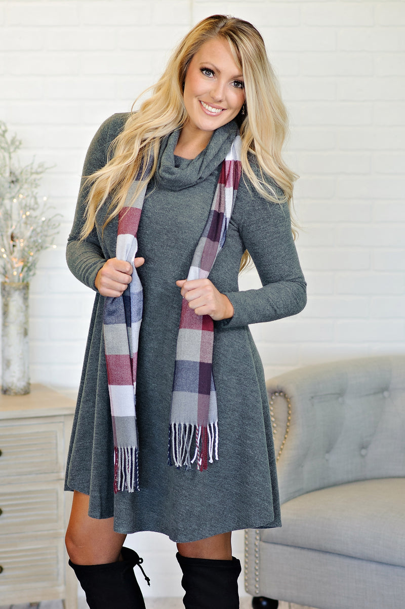 * Cashmere Feel Long Shawl Scarf : Navy/Wine/Grey