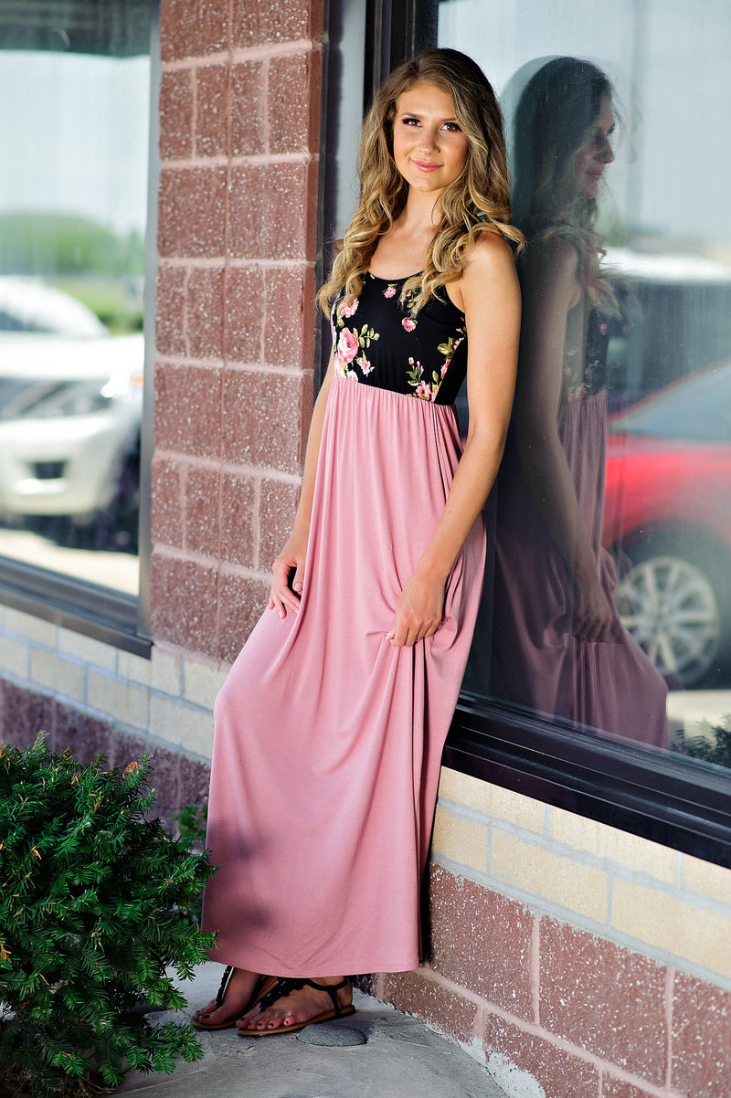 * Millie Floral Top Cami Maxi Dress : Black/Mauve