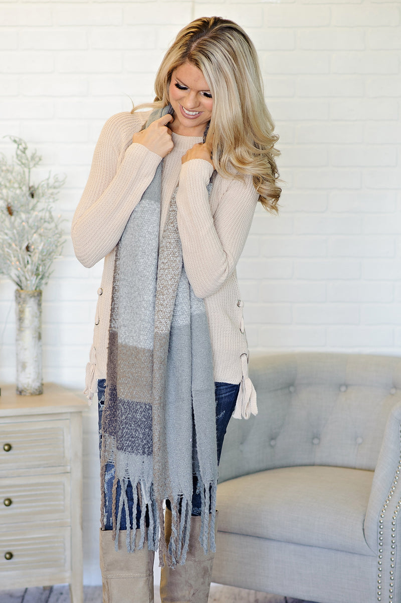 * Long Clarice Scarf : Grey/Mocha/Charcoal