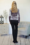 *  Ivy Crushed Velvet L/S Top : Silver