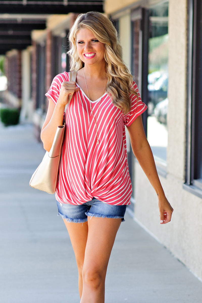 * Cindy Striped Twist Top : Coral