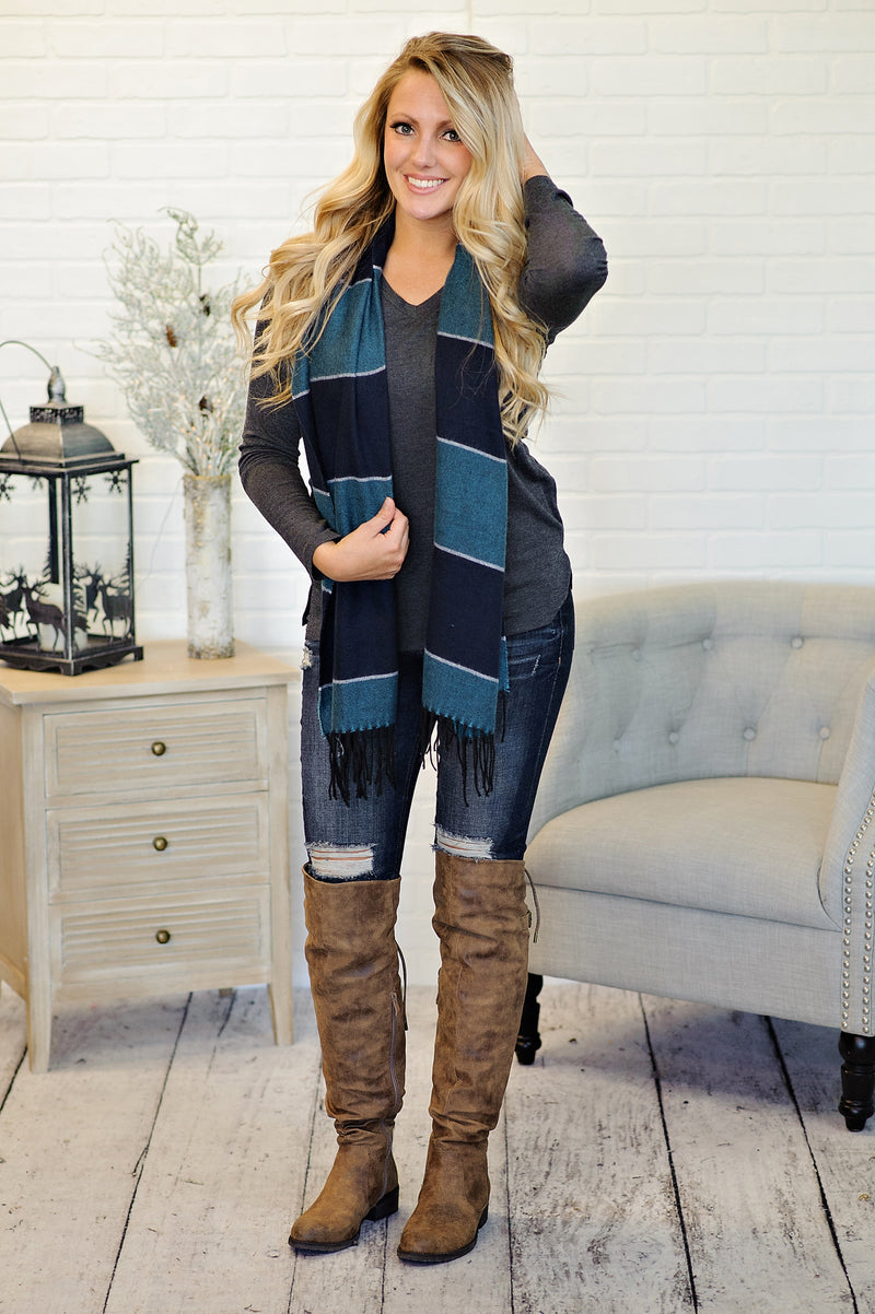 *  Cashmere Feel Long Shawl Scarf : Teal/Navy