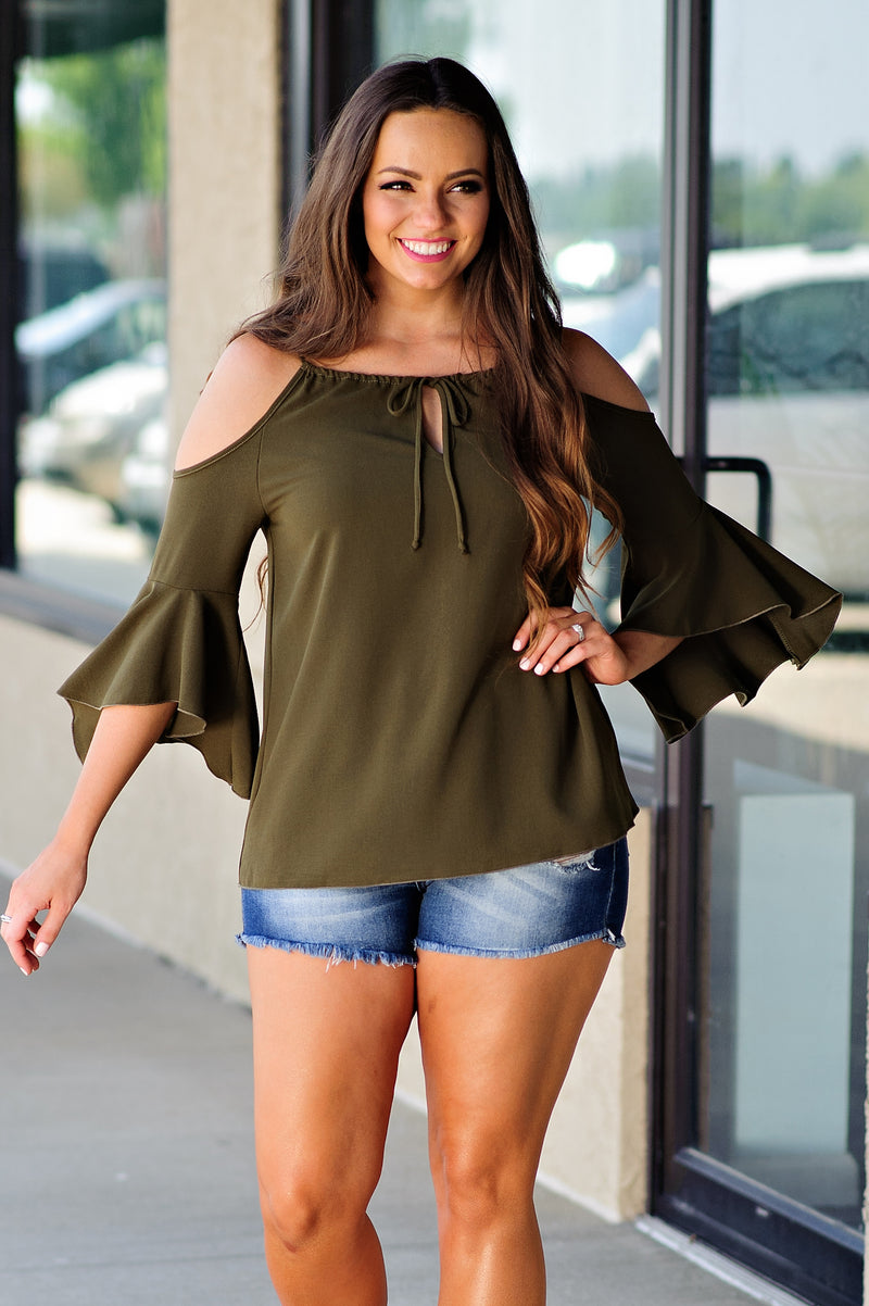 * Weeping Willow Cold Shoulder : Olive