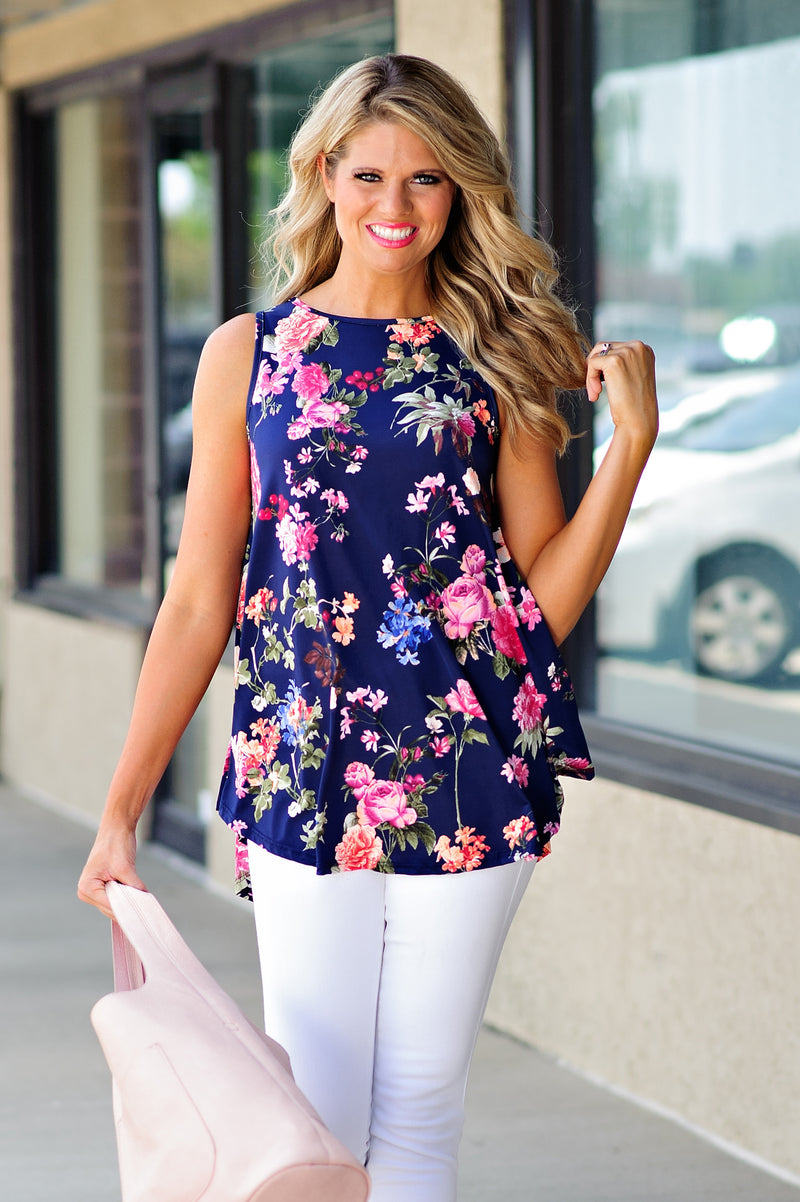 * Into The Blue Floral Tank : Blue