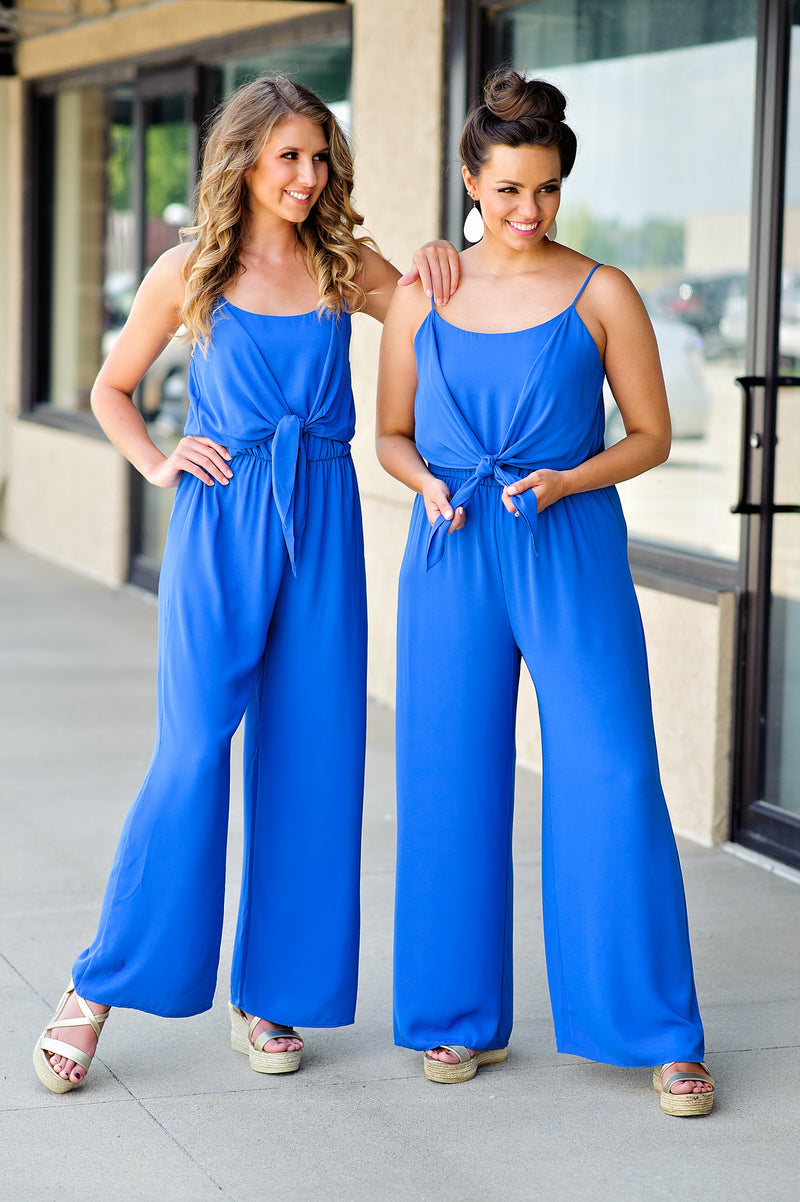 * Private Island Jumpsuit : Ocean Blue