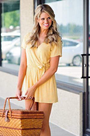 * Follow The Yellow Brick Road Checkered Romper : Yellow