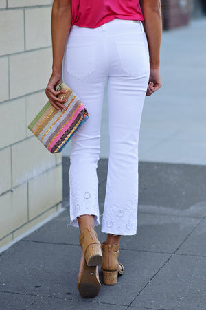 * Kailey Cropped Jeans With Embroidered Hem : White
