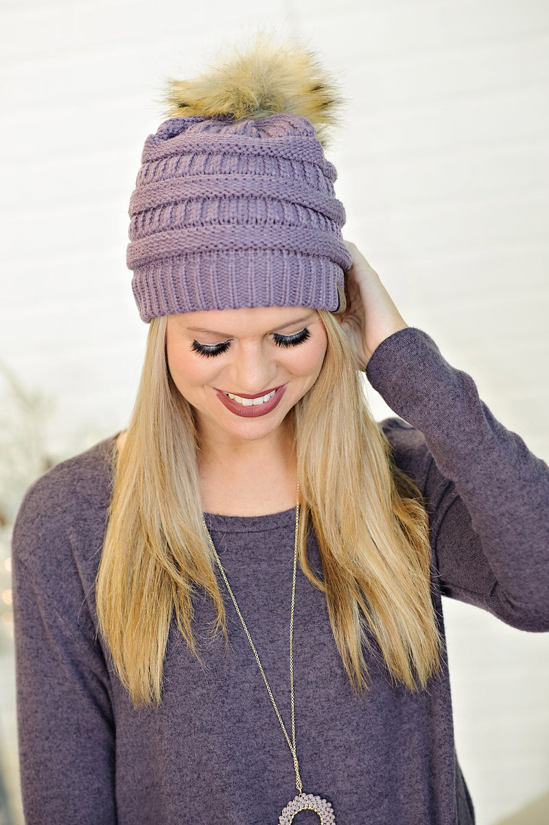 * CC Beanie With Pom : Light Purple