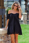 * Emma-Grace Eyelet OTS Dress : Black