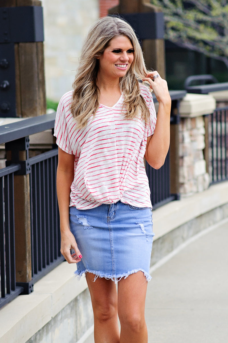 * Makenna Striped Hi-Lo Twist Top : Red/Ivory