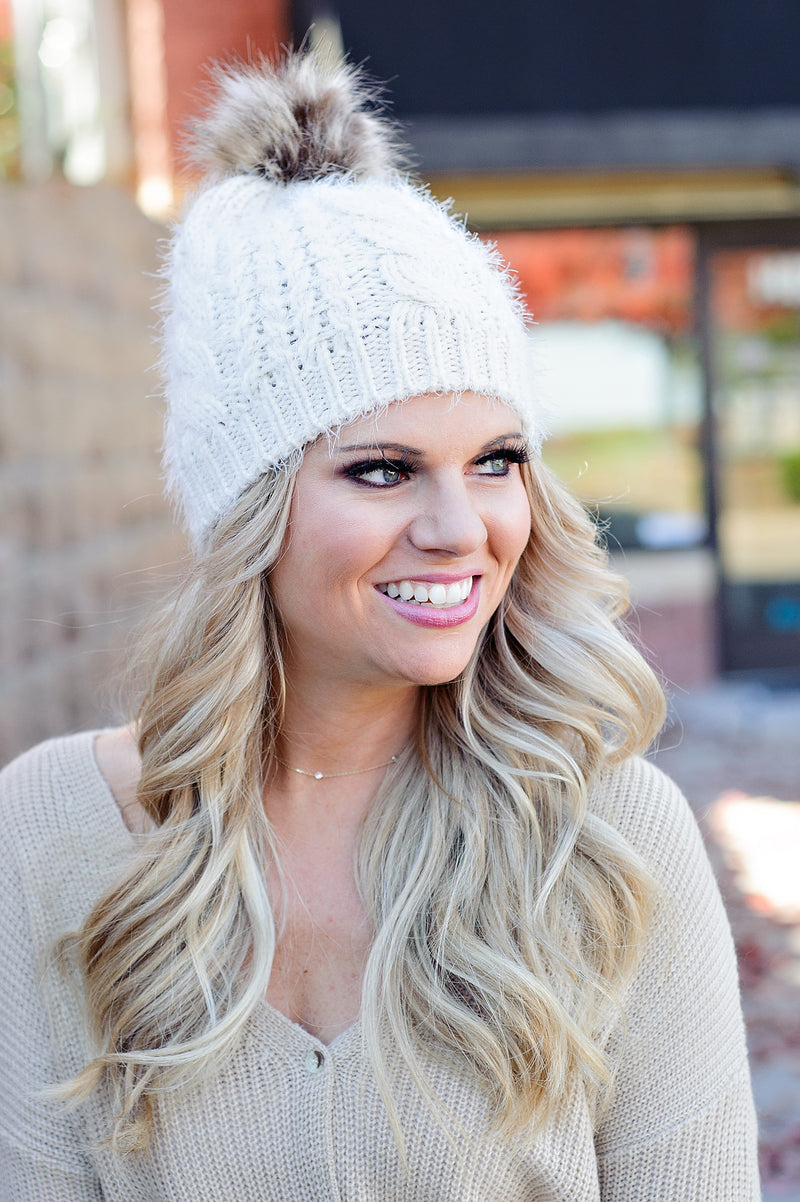 * Winter Wonderland Pom Beanie: Ivory