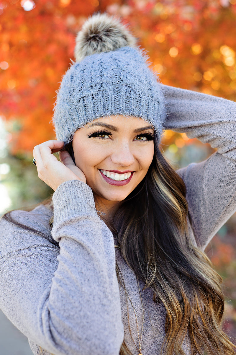 * Winter Wonderland Pom Beanie: Grey