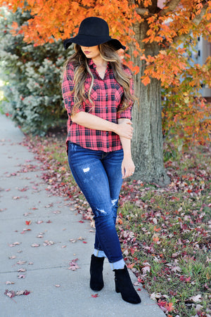 * In The Forest Plaid Top: Red/Navy/Olive