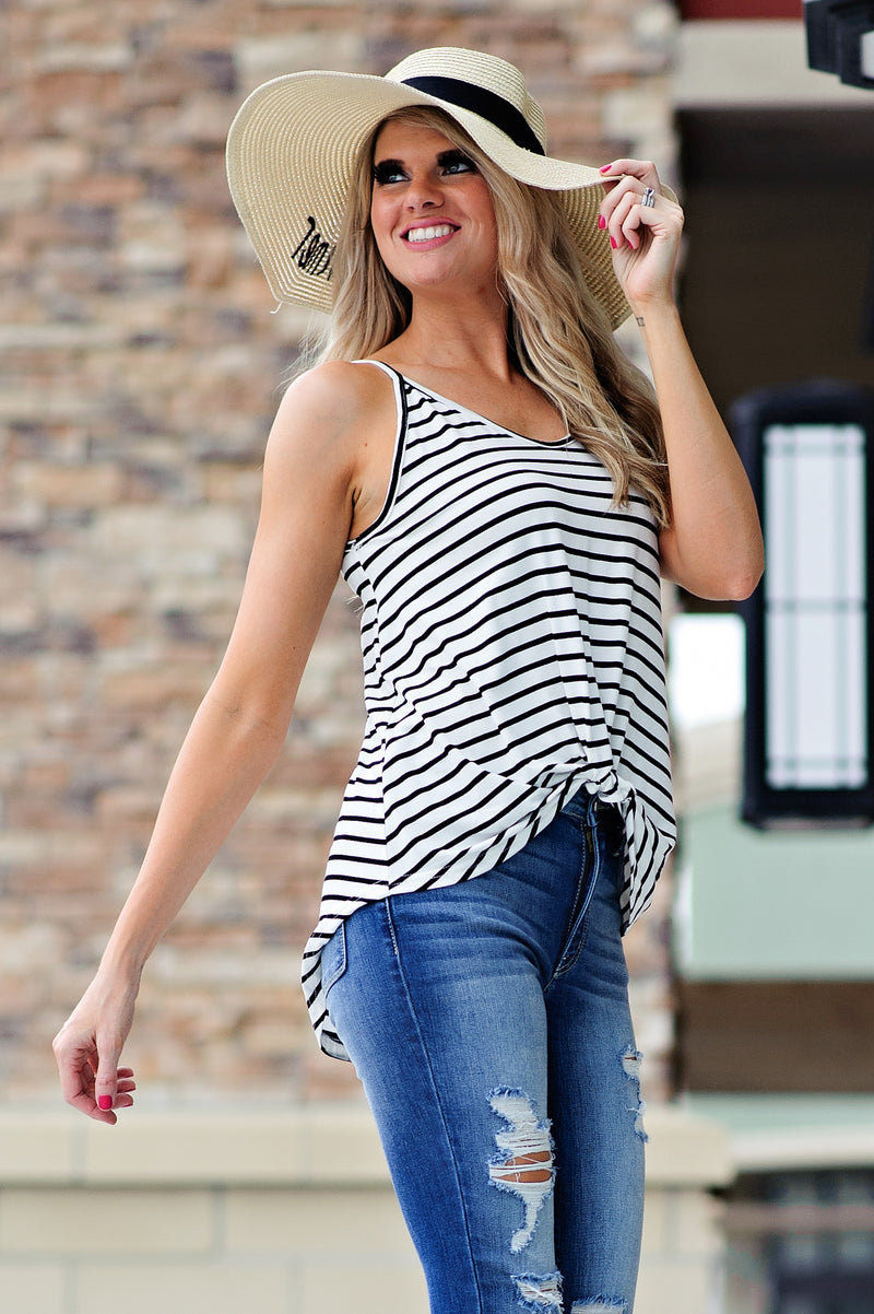 * Janet Striped Tank With Twist Front : Black/Ivory