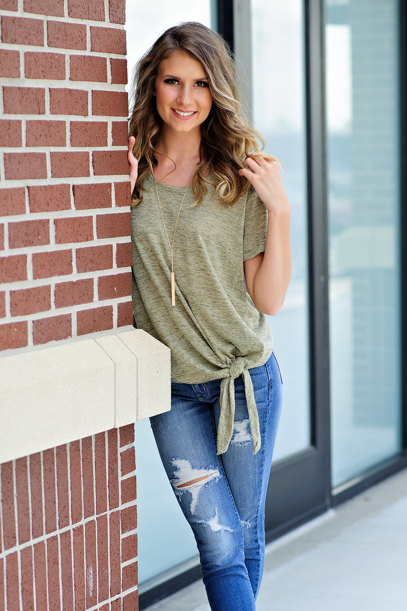 * Take The Lead Knot Tee : Olive