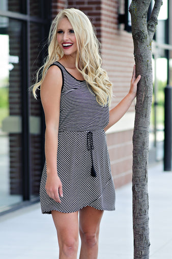 * I'm Biased Stripe Dress : Black/White