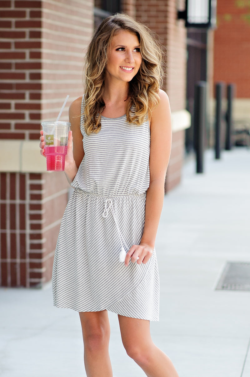 * I'm Biased Stripe Dress : Grey/White