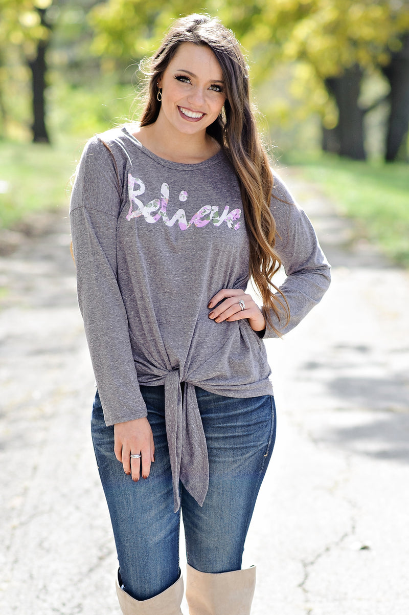 *  Believe L/S Tie Top : Grey/Lavender