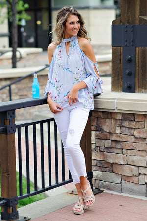 * EllaMarie Floral Cold Shoulder Top w/ Tie Sleeves : Sky Blue