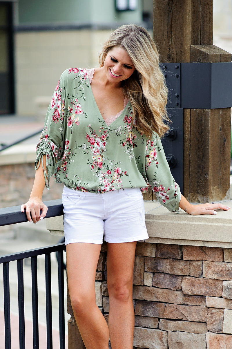 * Buttercup Floral Blouse With Tie Sleeve Detail : Sage