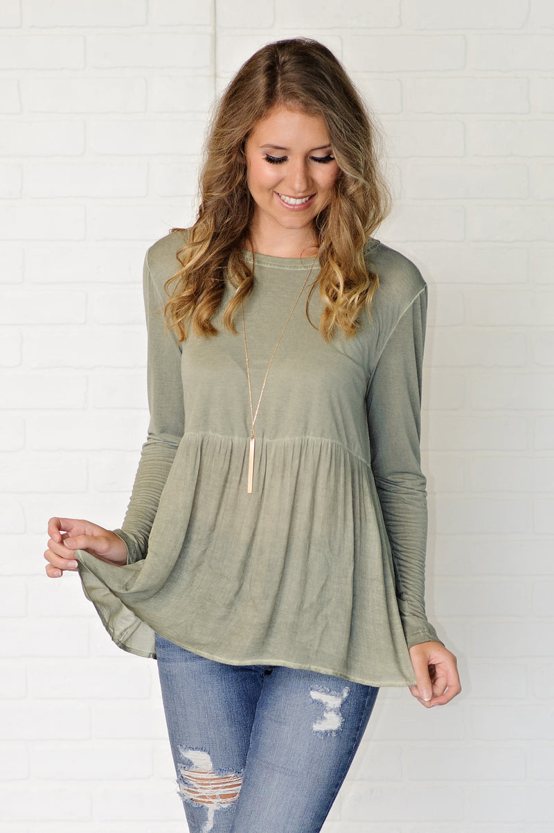 * No More Stress L/S Babydoll Top : Olive