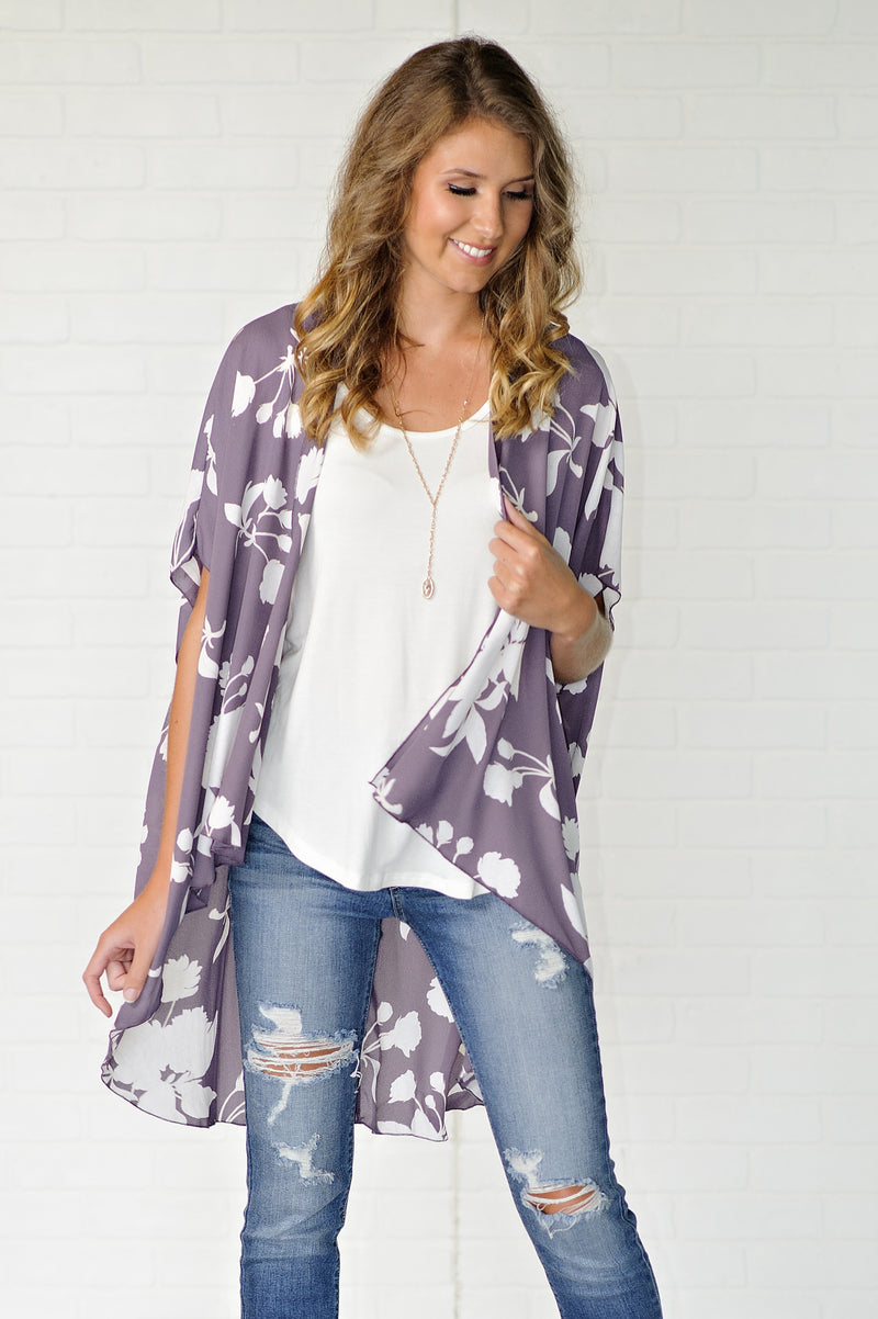* Just Because Long Floral Kimono: Plum