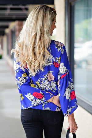 * Lets Go Shopping Floral Tie Top : Royal Blue