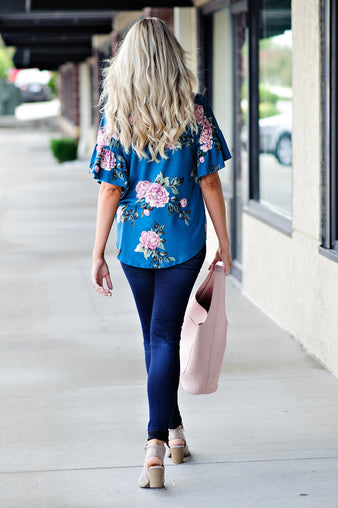 * Moving On Floral Tie Top: Teal