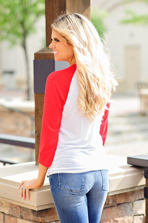 * Flint And Fields Kansas City Arrowhead Raglan: Red/White