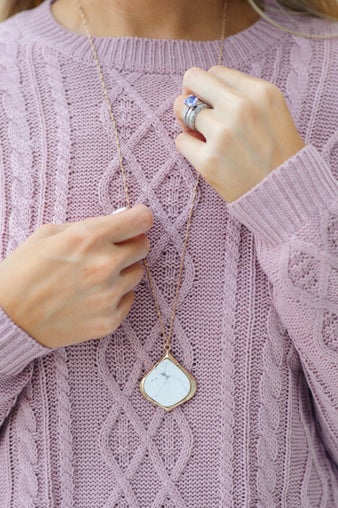 Marcy Stone Pendant Necklace:  Marble