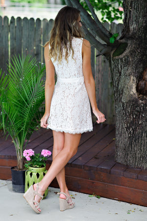 * Lanie Overlap Lace Dress : White/Nude