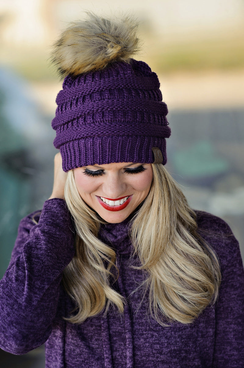 * CC Beanie With Pom: Purple