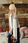 * Cashmere Feel Long Shawl Scarf : White