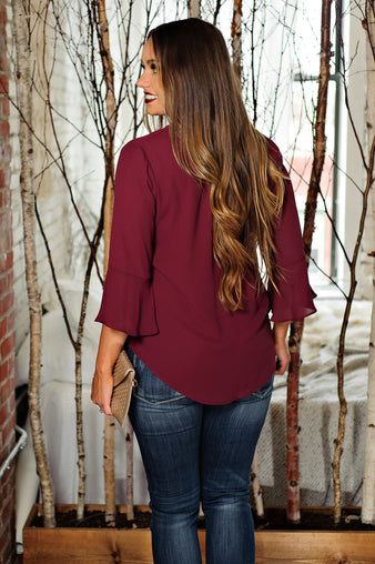* Turn Of Events V Neck Blouse: Burgundy