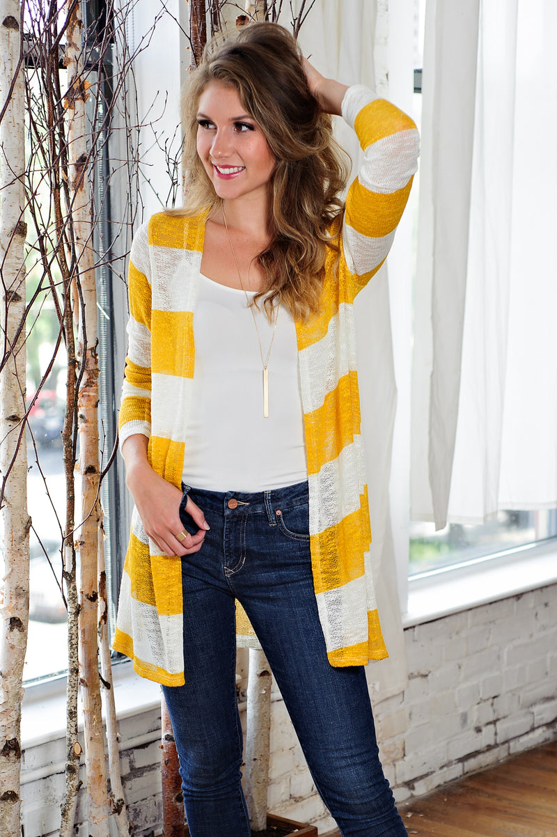 * Oh Its Love Striped Cardigan: White/Mustard