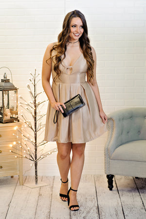 * Reba Deep V Neck Metallic Dress : Gold