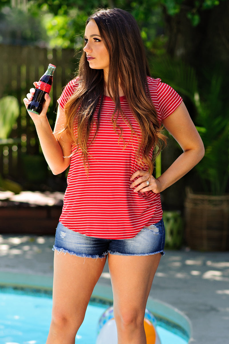 * Candy Apple Striped Tee : Red