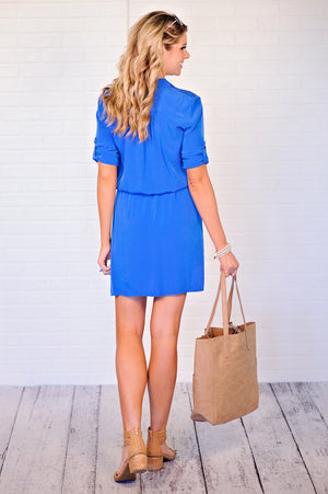 * Hilo Button Down Dress : Royal Blue