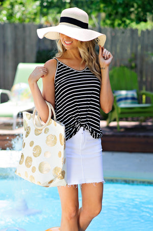 * Janet Striped Tank With Twist Front : Black