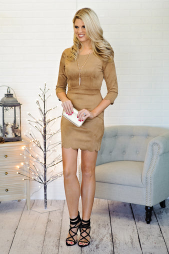 * Deziree Suede 3/4 Sleeve Dress w/ Scalloped Detail : Tan