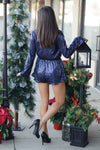 * Aime Sequin Romper With L/S: Navy